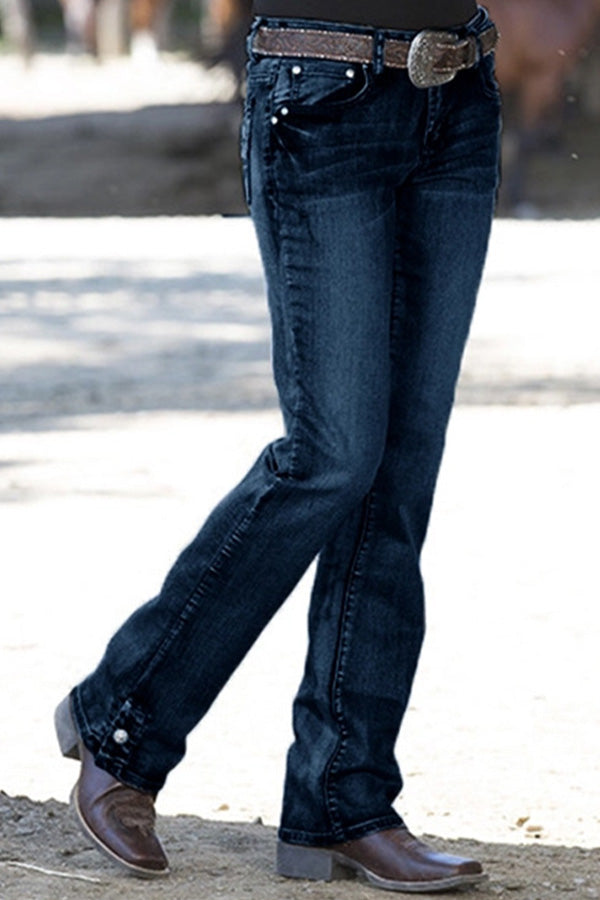 Solid Paneled Side Pockets Casual Daytime Holiday Jeans