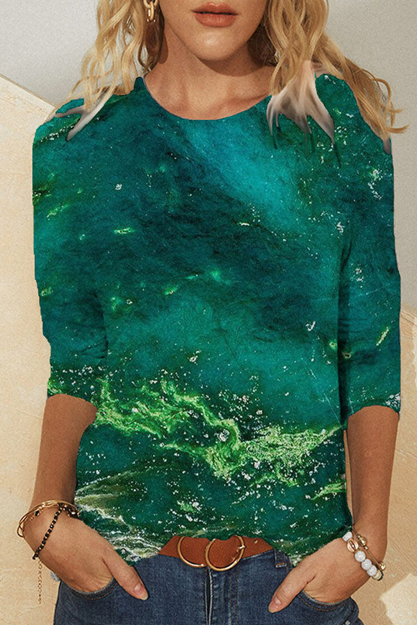 Artistic Abstract Green Gradient With Gold Dots Print Color Block Shift T-shirt