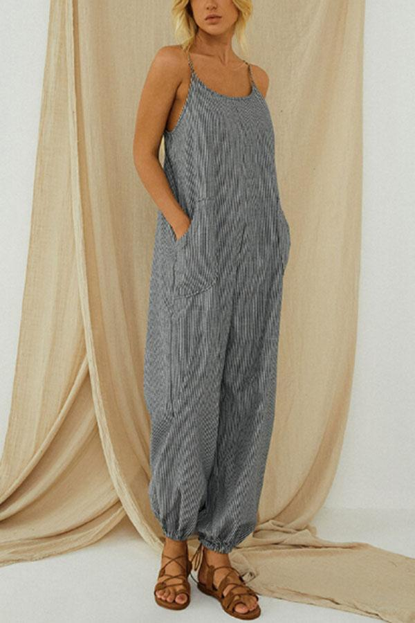 Striped Print Spaghetti Paneled Pockets Casual Jumpsuit