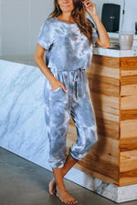 Gradient Print Paneled Self-tie Pockets Foot-binding Casual Jumpsuit