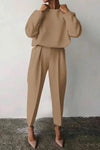 Simple Solid Long Sleeves Tops With Pleated Long Pants Two-Piece Set