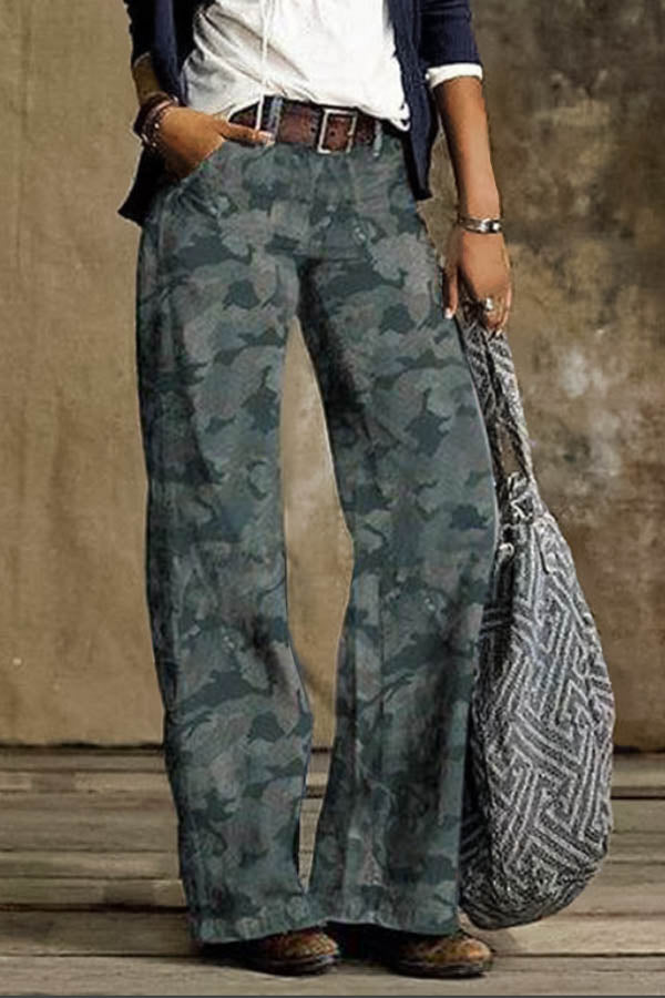 Gradient Print Vintage Paneled Pockets Women Wide Leg Jeans