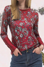 Vintage Floral Print Paneled Crew Neck Long Sleeve T-shirt