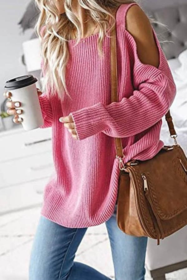 Sweety Solid Knitted Ribbed Cold Shoulder Date Holiday Sweater