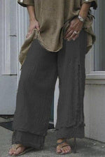 Linen Casual Solid Statement Drawstring Pants