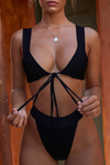 Sexy Solid Self Tie Top With Thong Underpants Beach Bikini Two Pieces Set