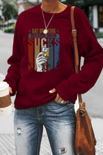 Day Drinking Because 2020 Sucks Strieped Hand Holding Glass Print Casual Sweatshirt