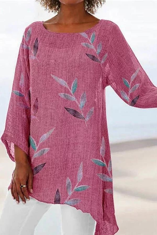 Casual Linen 3/4 Sleeve Floral Print Crew Neck T-shirt