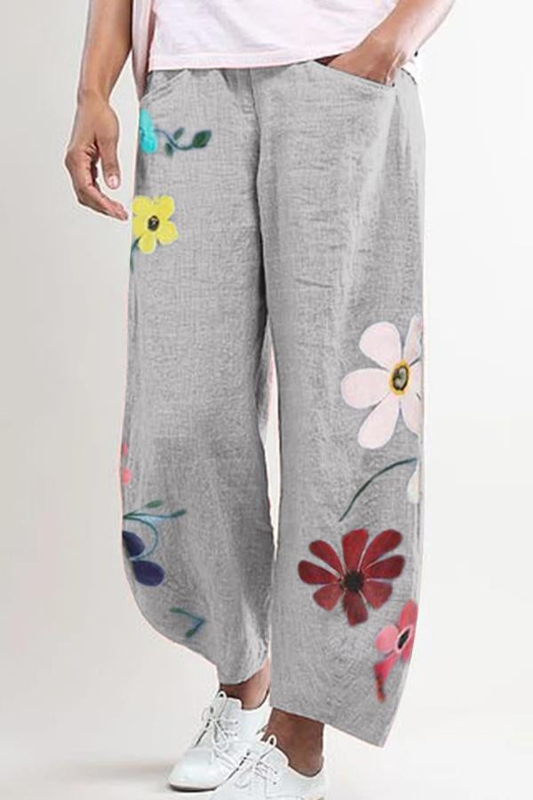 Floral Printed Loose Casual Linen Pants