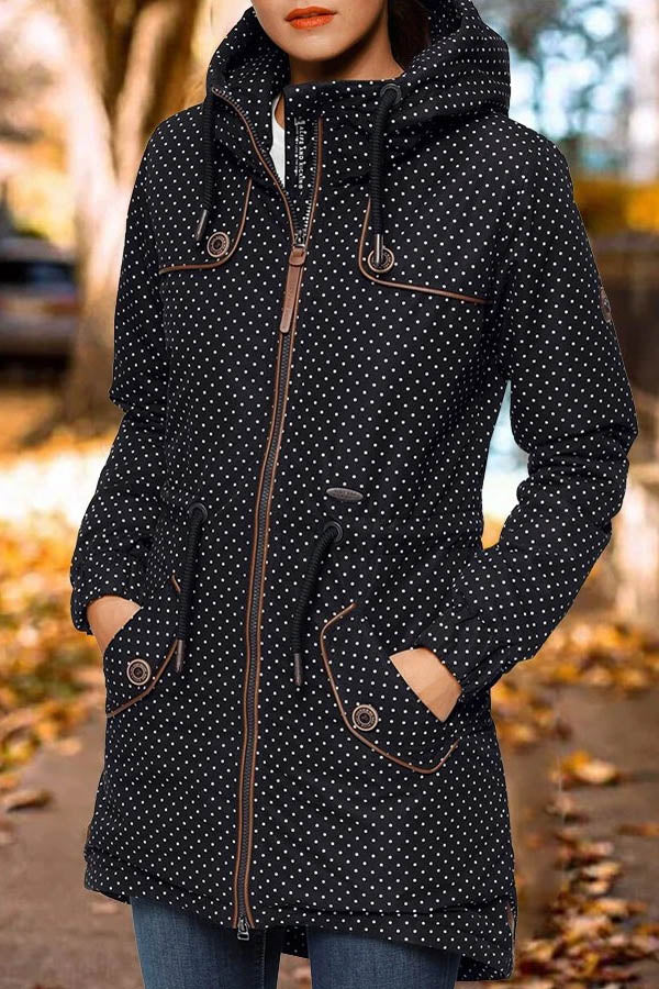 Women Casual Polka Dots Jacquard Paneled Zipper Front Buttoned Pockets Hooded Coat