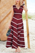Casual V Neck Stripe Sleeveless Maxi Dress