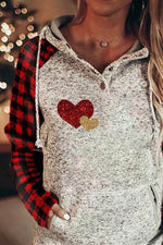 Vintage Heart Shaped Plaid Print Drawstring Raglan Sleeves Pocket Buttoned Color Block Hoodie