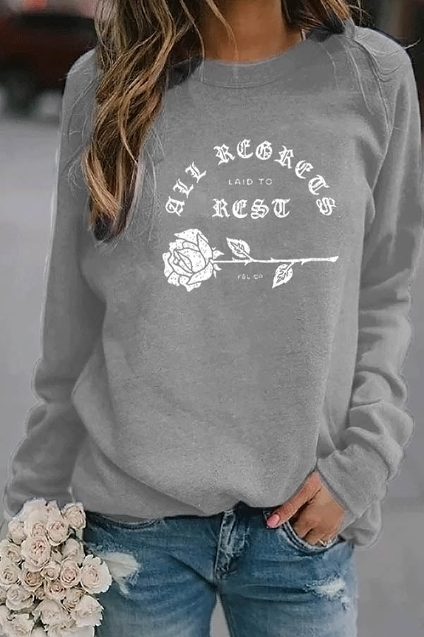 Abstract Letter Rose Print Casual Women T-shirt
