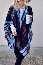 Plaid Jacquard Tassel Open Front Holiday Cloak Coat