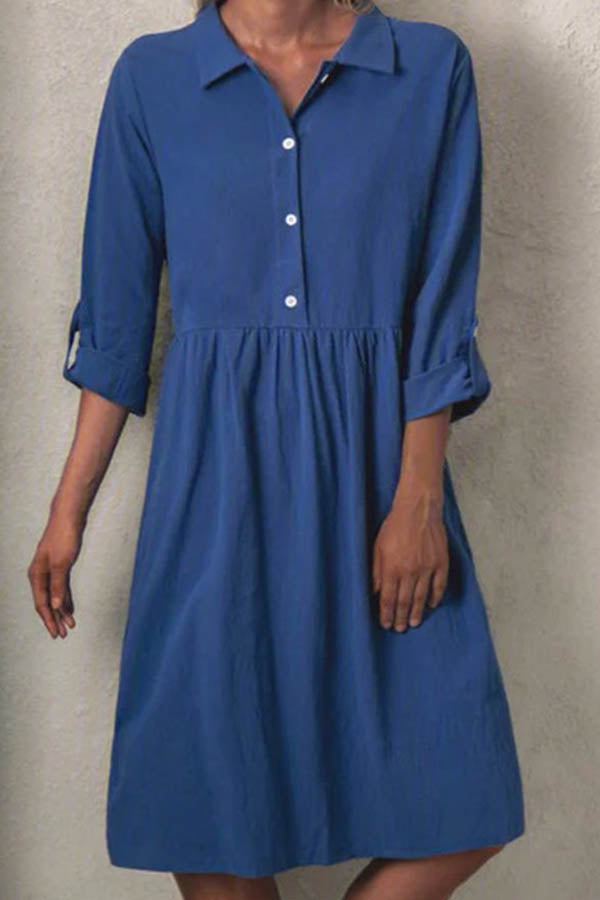 Classic Solid Paneled Buttoned Shirt Collar 3/4 Sleeves Pleated Midi Dress