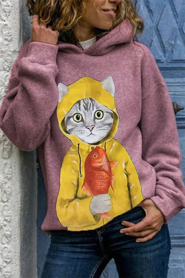 Lifelike Cat Holding Fish In Yellow Print Cartoon Hoodie