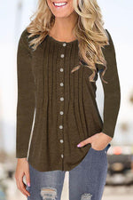 Casual Solid Paneled Pleated Buttons Down Sweatshirt