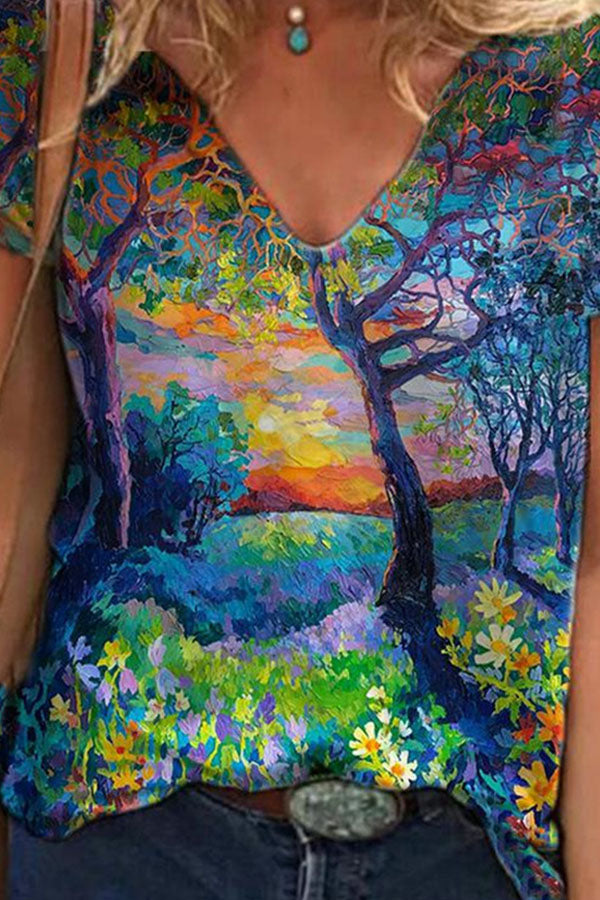 Artistic Forest Floral With Sun Mixed Color Oil Painting Print Shift T-shirt