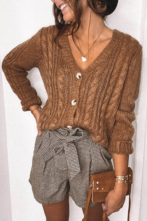 Casual Holiday Solid Knitted Ribbed Tweed Buttoned Cardigan