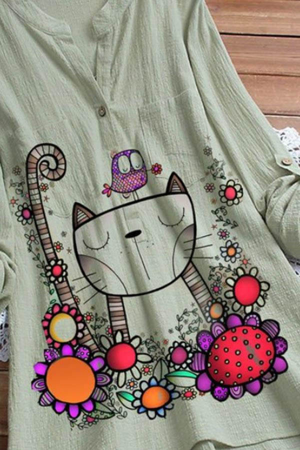 Cartoon Cat Floral Print Buttoned V-neck Side Pocket Casual Blouse