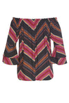 Holiday Striped Print Off Shoulder Bell Sleeves Pleated Blouse