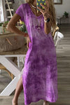 Gradient Tie-dyed Slit Side Maxi Dress