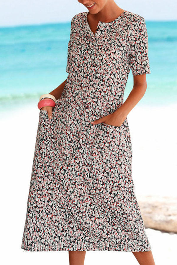 Floral Printed Short Sleeve Pocket V Neck Shift Midi Dress