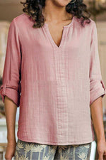 Linen Solid V Neck Long Sleeves Blouse