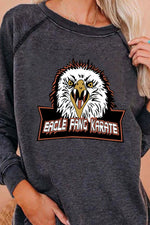 Eagle Fang Karate Letter And Eagle Printed Long Sleeve T-Shirt