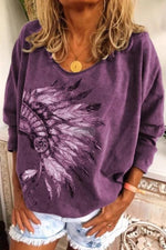 Plus Size Vintage Print Long Sleeve Tee