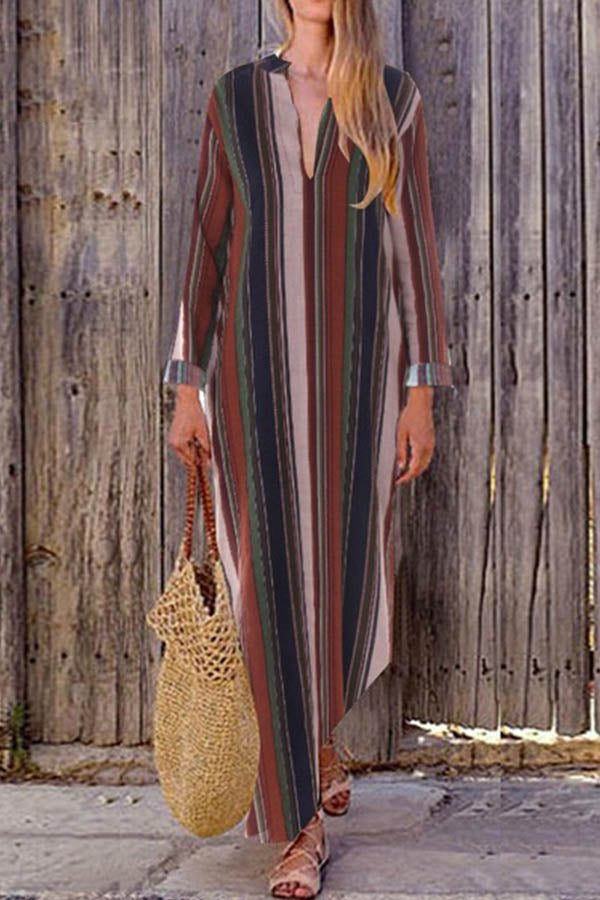Bohemian Colorful Striped Print V-neck Holiday Maxi Dress
