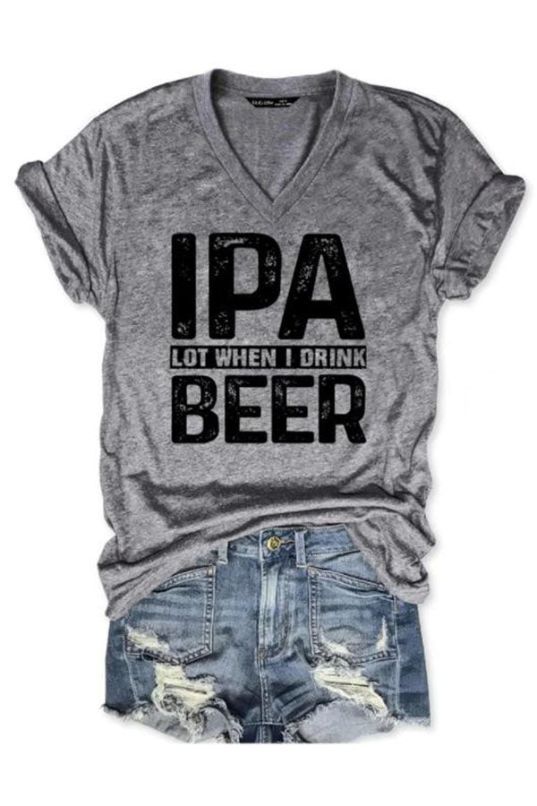 Ipa Beer Letter Print V Neck Short Sleeve Casual T-Shirt