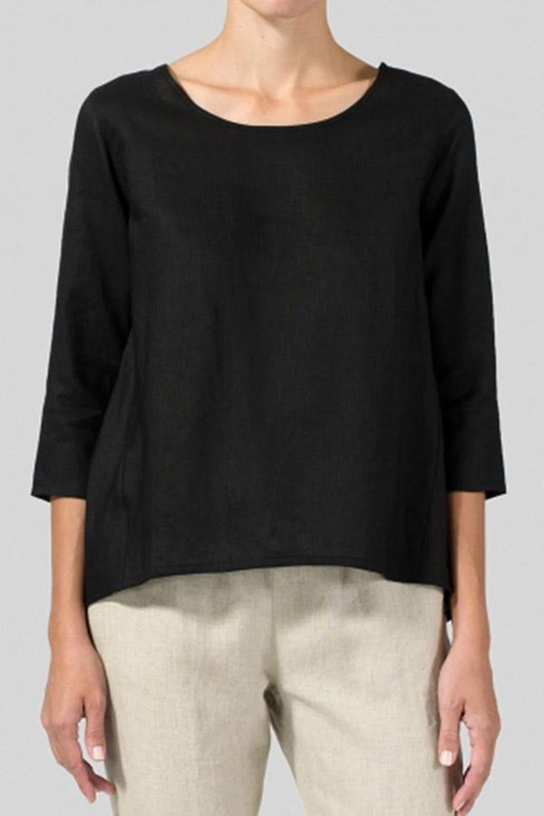 High Low 3/4 Length Sleeves Linen T-shirts