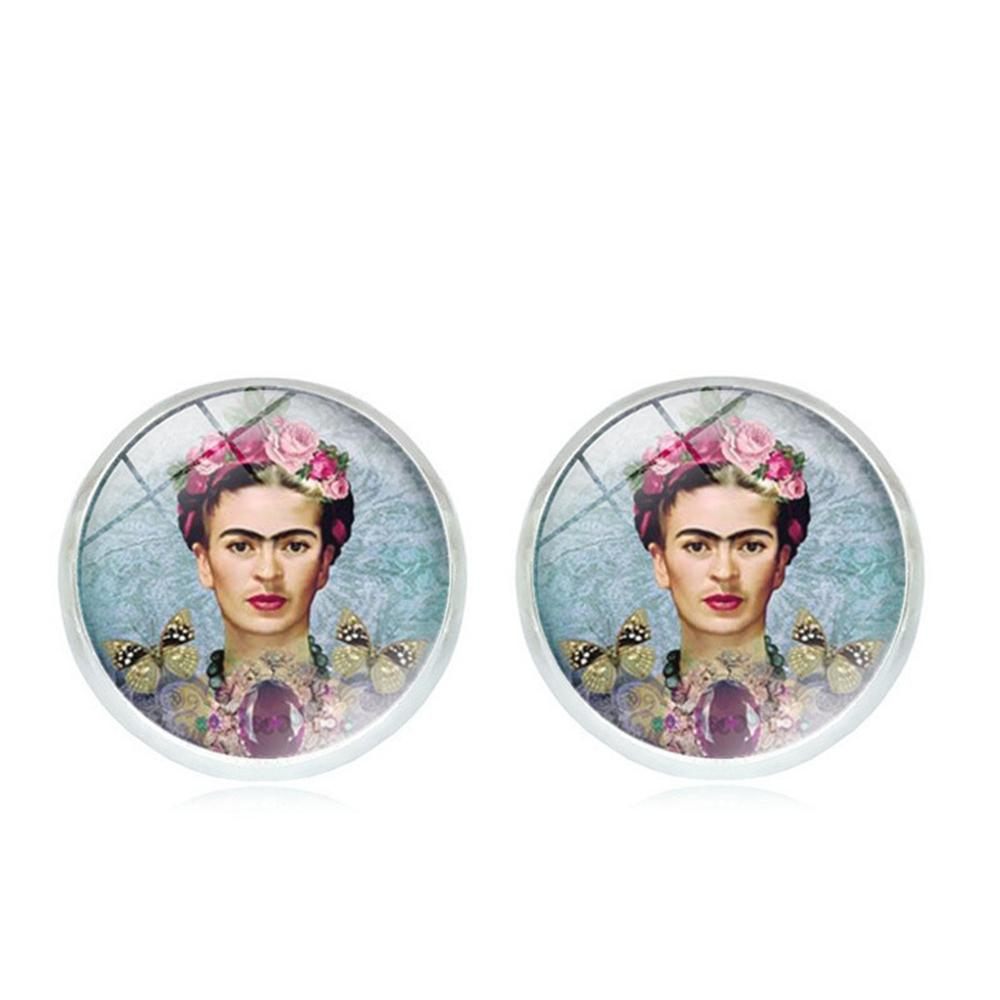 Frida Kahlo Decoration Glass Gem Vintage Earrings