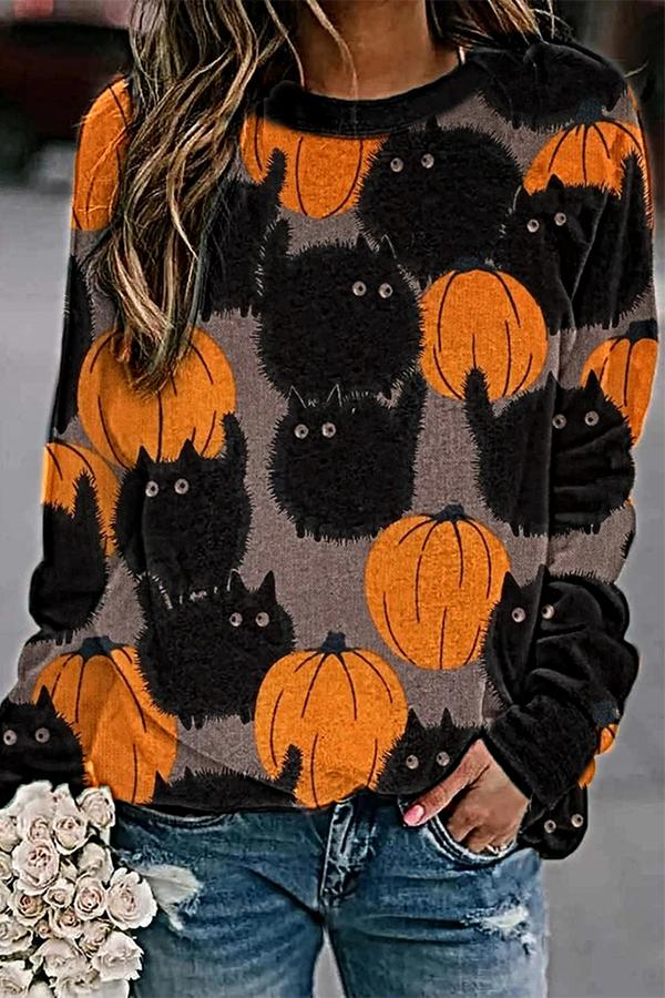 Pumpkin Black Cat Print Cartoon Halloween T-shirt