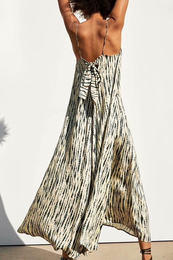 Gradient Print Bow Sling Holiday Maxi Dress