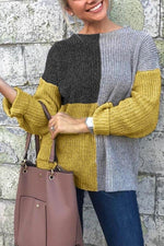 Color Block Knitted Round Neck Sweaters