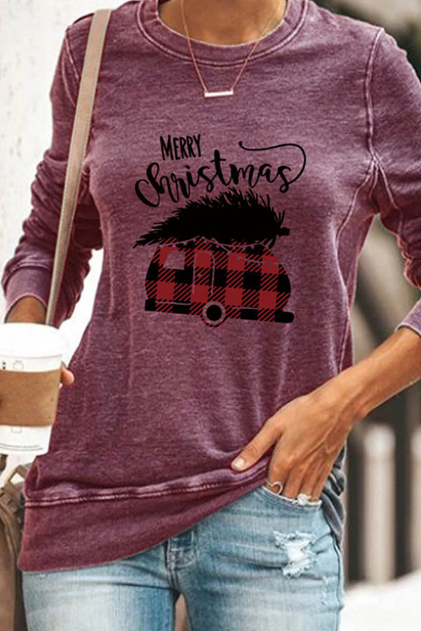 Plaid Car Carry Christmas Tree Print Letter Sheath Women T-shirt