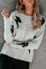 Casual Knitted Geometric Jacquard Ribbed Crew Neck Sweater