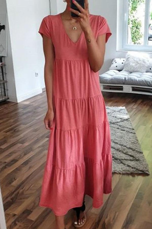 Solid V-neck Paneled Pleated Casual Maxi Dress