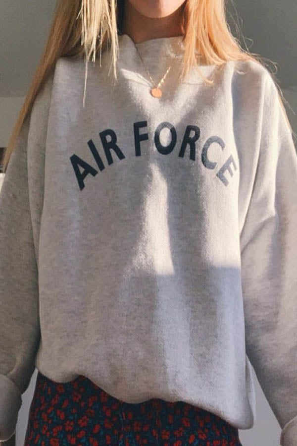 Air Force Letter Print Stand Collar Long Sleeves Sports T-shirt