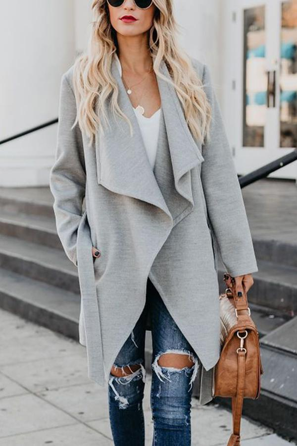 Solid Shift Side Pockets Lapel Coat