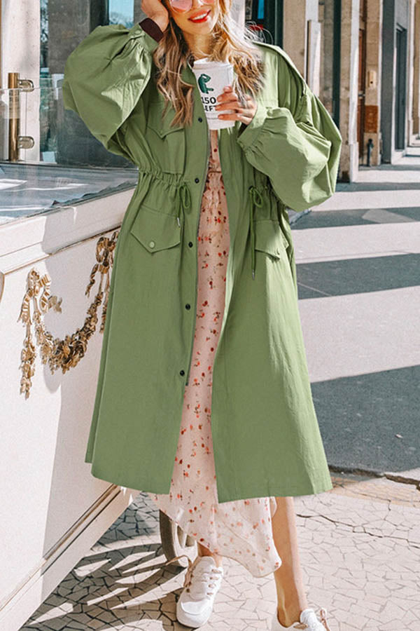 Street Solid Buttons Down Drawstring Waist Balloon Sleeves Lapel Collar Long Coat