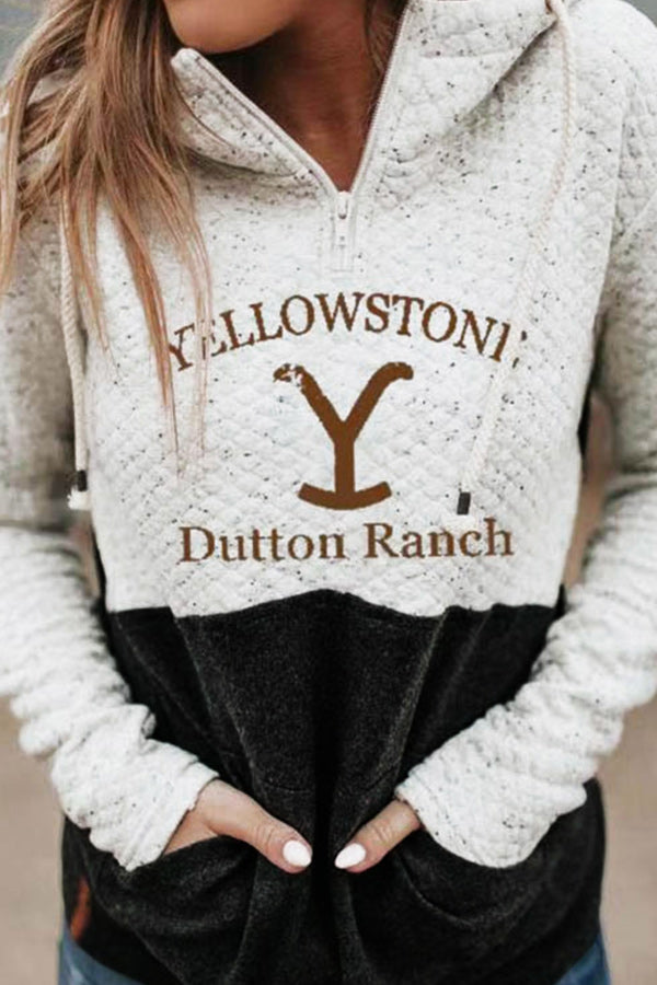 Yellowstone Dutton Ranch Letter Print Plaid Embossed Color-block Zipper Front Casual Sweatshirt