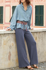 Solid Casual High Waist Loose Pants