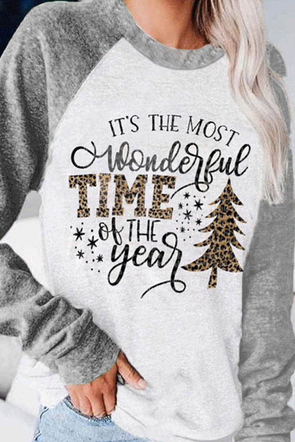 Its The Most Wonderful Time Of The Year Letter Leopard Christmas Tree Print Color-block Sweatshirt