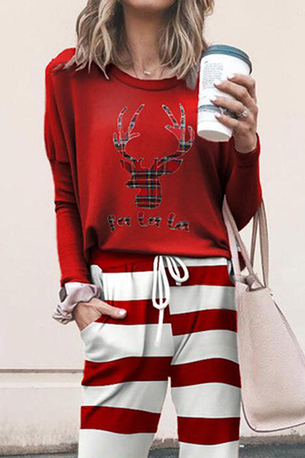 Plaid Elk Print T-shirt With Stiped Print Pants Christmas Two-pieces Set