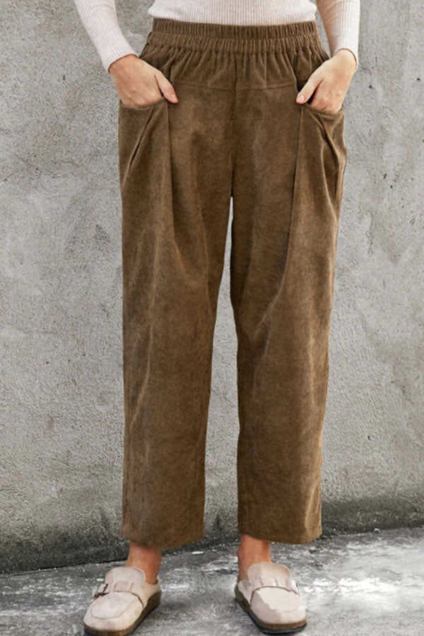Vintage Solid Side Pockets Elastic Waist Pleated Long Pants
