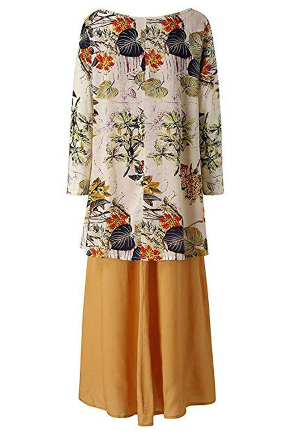 Paneled Floral Print Buttoned Holiday Maxi Dress
