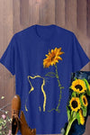 Cat Sunflower Print Short Sleeves Casual T-shirt